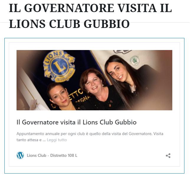 IL GOVERNATORE VISITA IL LIONS CLUB GUBBIO