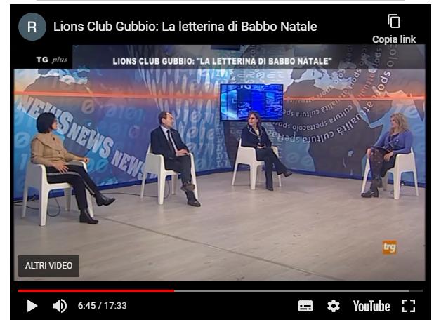 LIONS CLUB GUBBIO: LA LETTERINA DI BABBO NATALE – PLUS TRGmedia