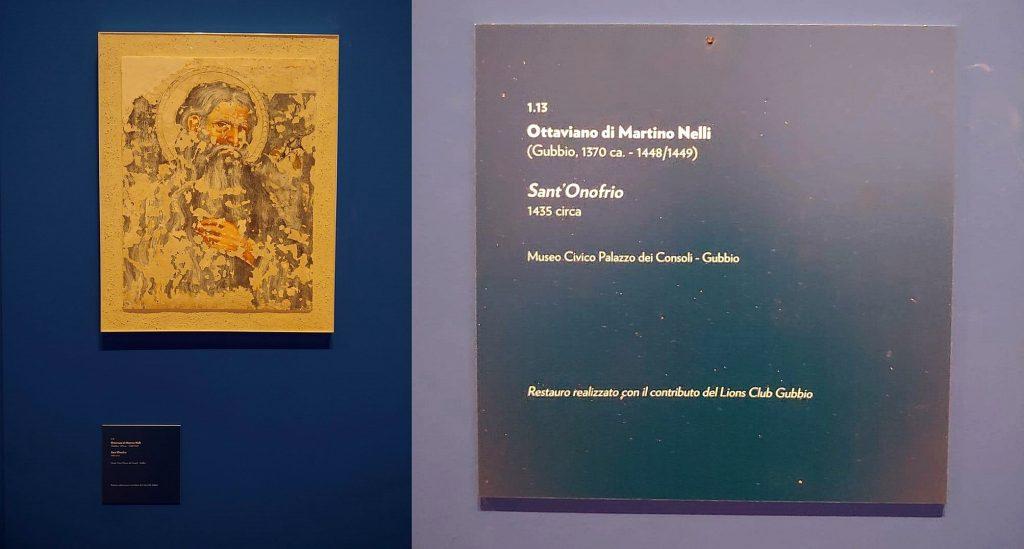 RESTAURO realizzato con il contributo del LIONS CLUB GUBBIO: Ottaviano di Martino Nelli - Sant'Onofrio - 1435 circa - Affresco staccato e trasportato su tela